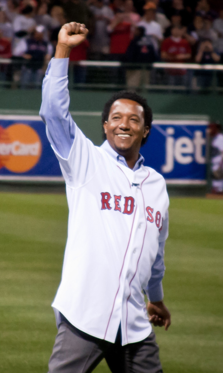 Pedro Martinez at Boston's Fenway Park in 2010 after his retirement. Martinez won the AL Triple Crown and Cy Young Award with the Red Sox in 1999.