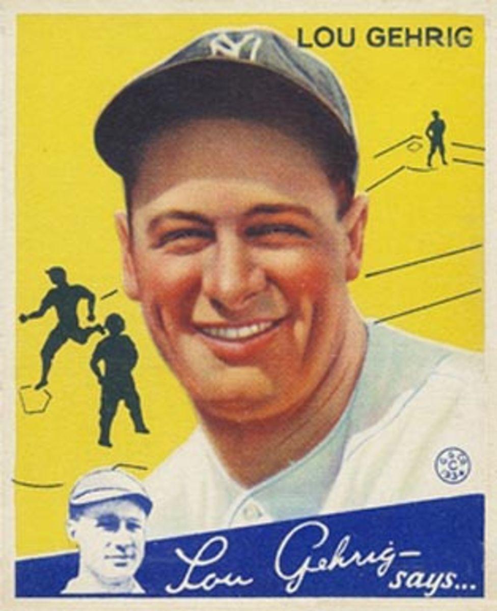 1934 Lou Gehrig Goudey baseball card.