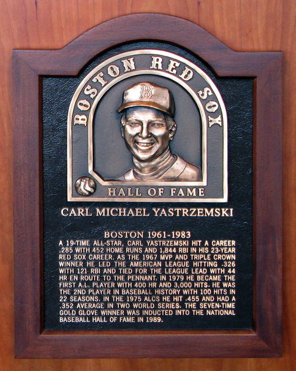 Carl Yastrzemski's Hall of Fame plague. Photo by Bernard Gagnon.