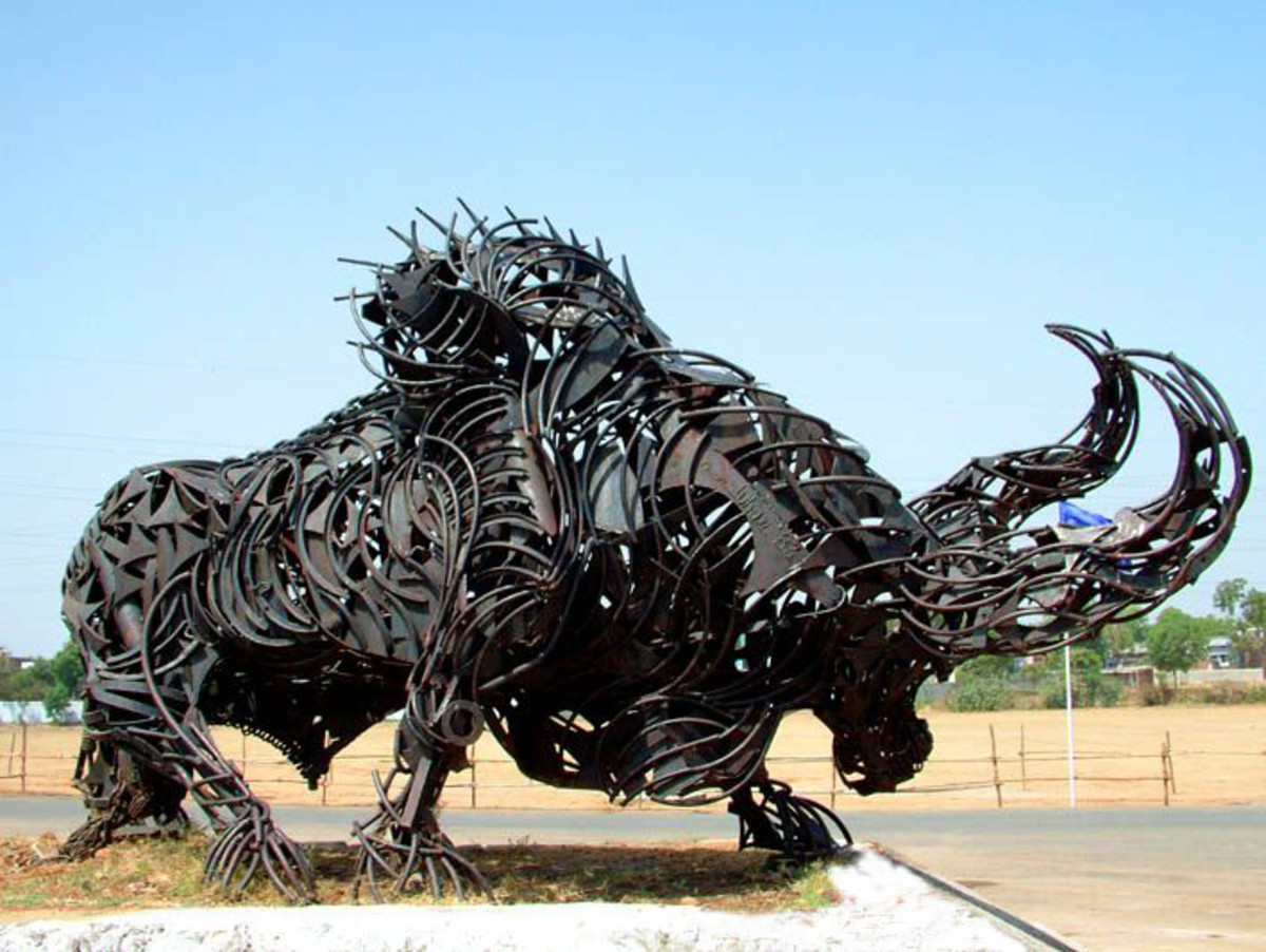 The Iron Bull at the entrance of Sardar Patel Stadium.