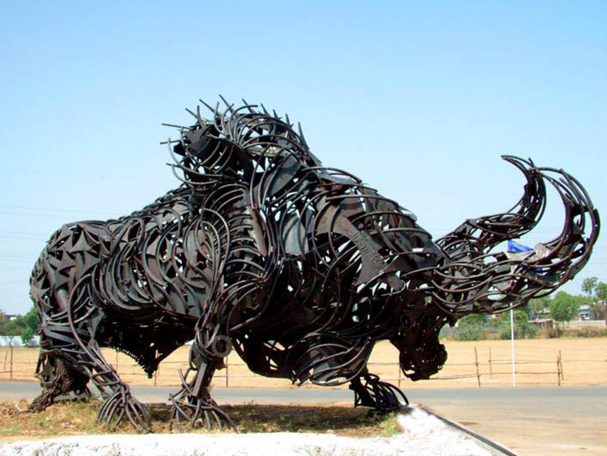 The Iron Bull at the entrance of Sardar Patel Stadium.