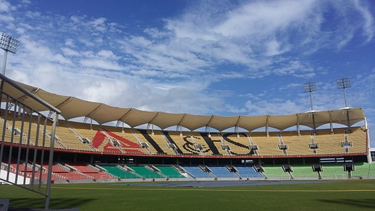 The colorful seating arrangements at the stadium