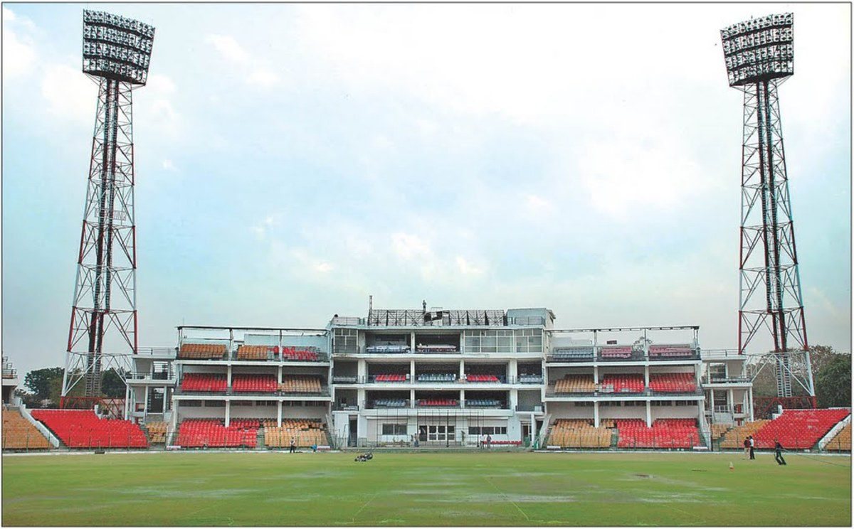 The view of the Captain Roop Singh Stadium from inside.