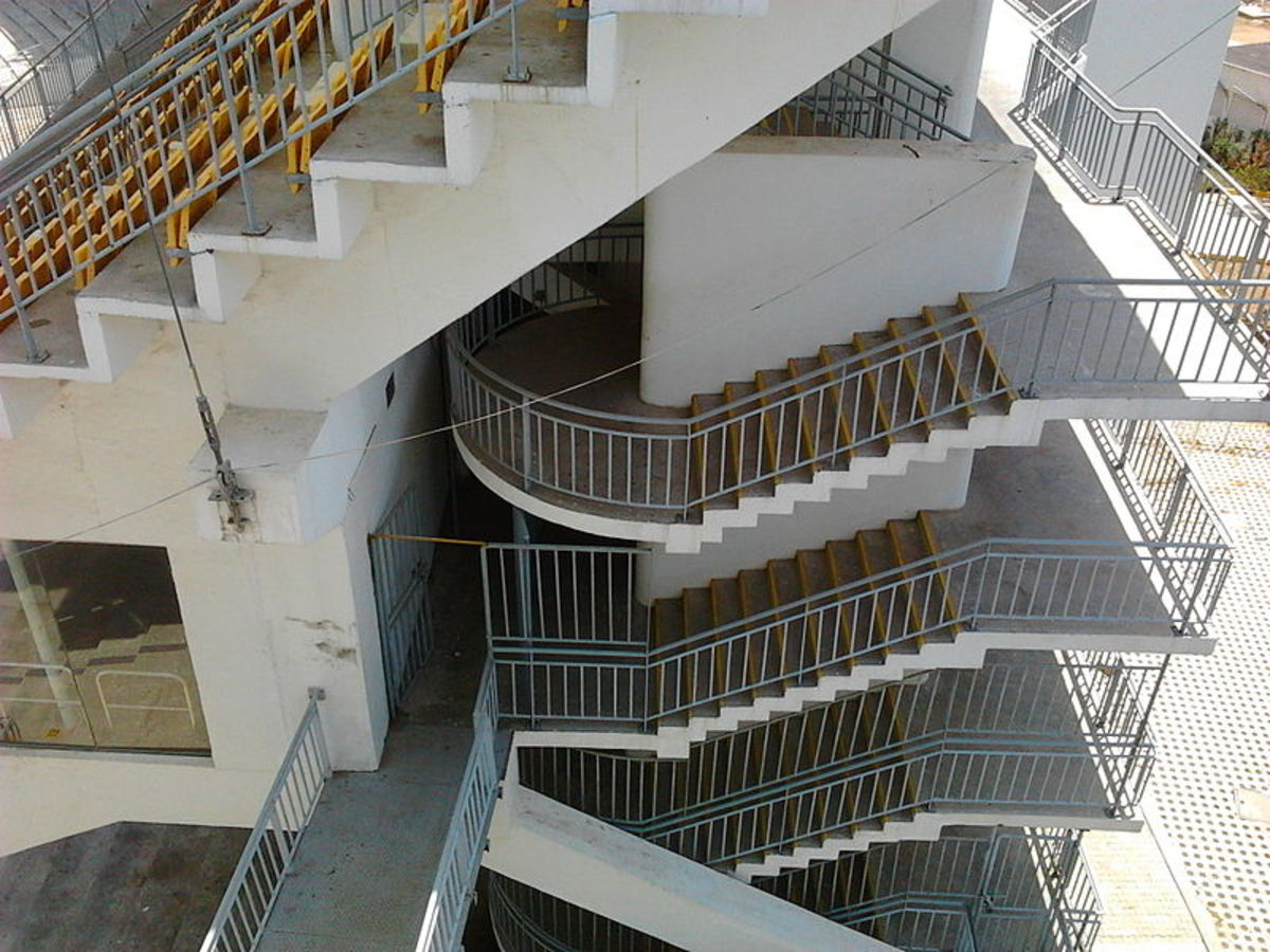 The staircase of Stand A at the Chidambaram Stadium