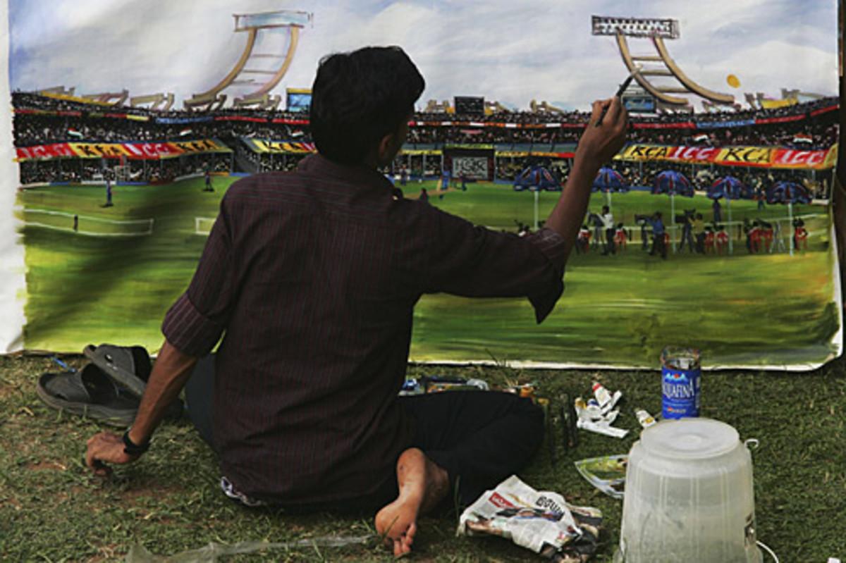 An artist's depiction of proceedings at the Municipal Corporation Stadium