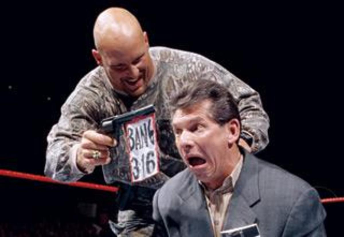 """""""Stone Cold"""" Steve Austin and Mr. Vince McMahon's fued in the late 90's fueled the WWE Attitude era and the WWE's ratings."""