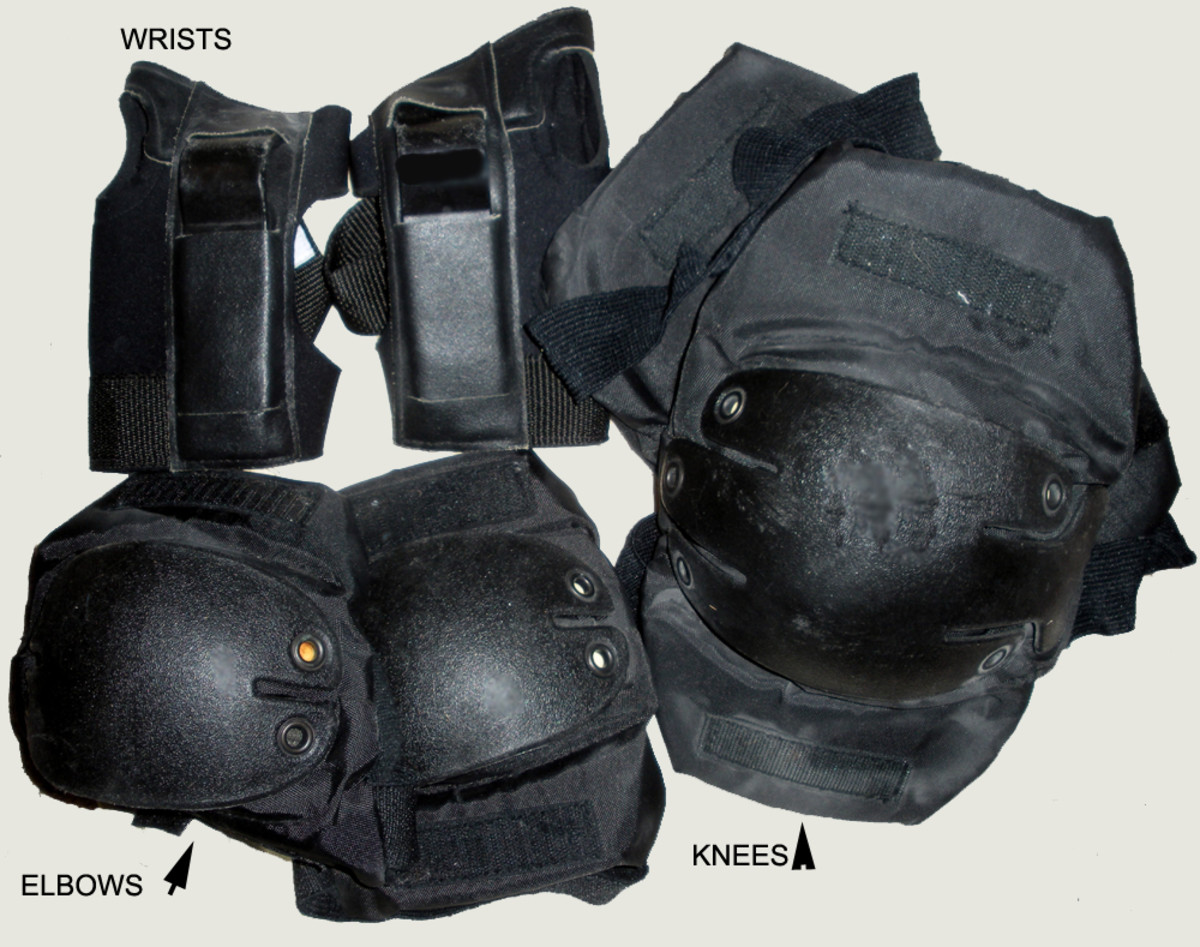 Wrist, knee and elbow pads shown.  Everyone knows what a helmet looks like--choose your favorite style.
