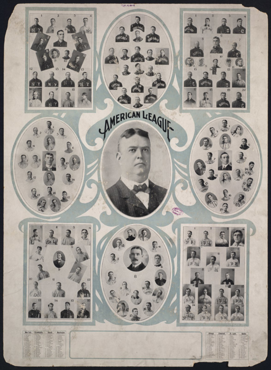 American League President Ban Johnson surrounded by portraits of the 8 AL teams (1907).