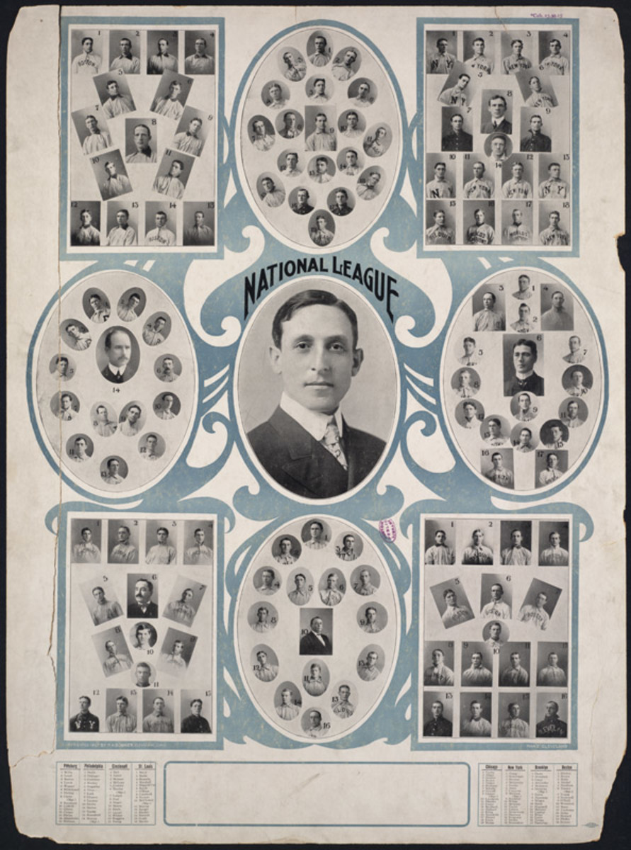 National League President Harry C. Pulliam surrounded by portraits of the 8 NL teams (1907).