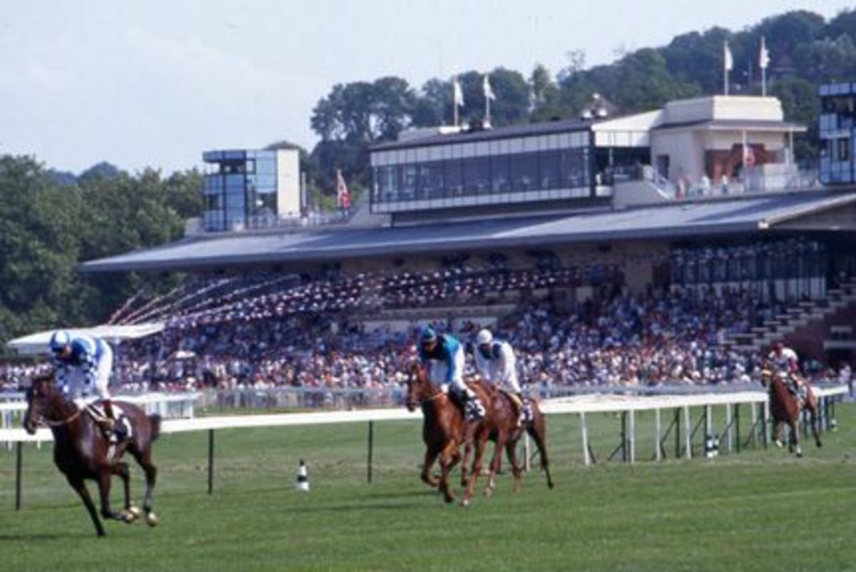 Coming round a corner at the Deauville racecourse