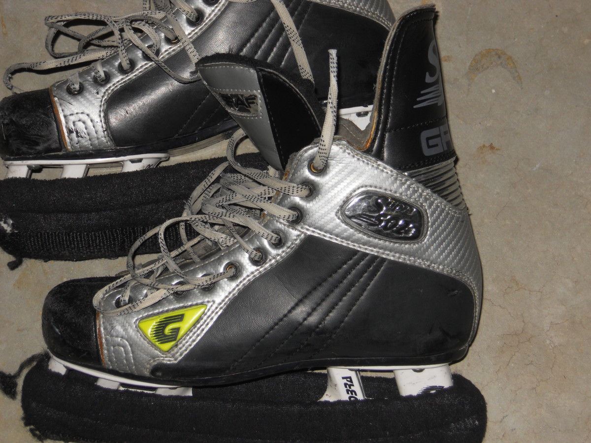 Skates for ice hockey.