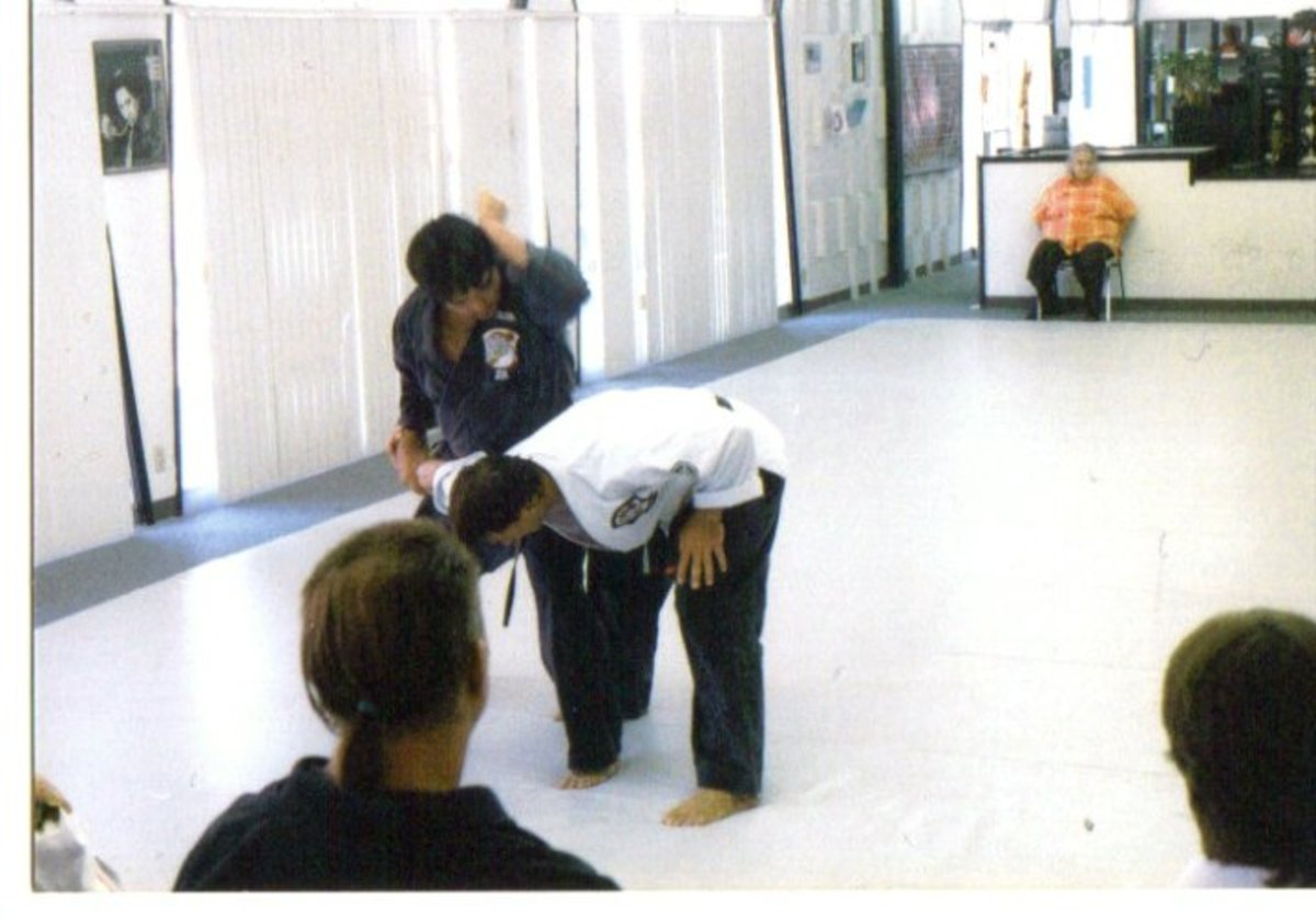 A human being's upright posture give the person the capacity to use gravity to aid in adding power to downward strikes.