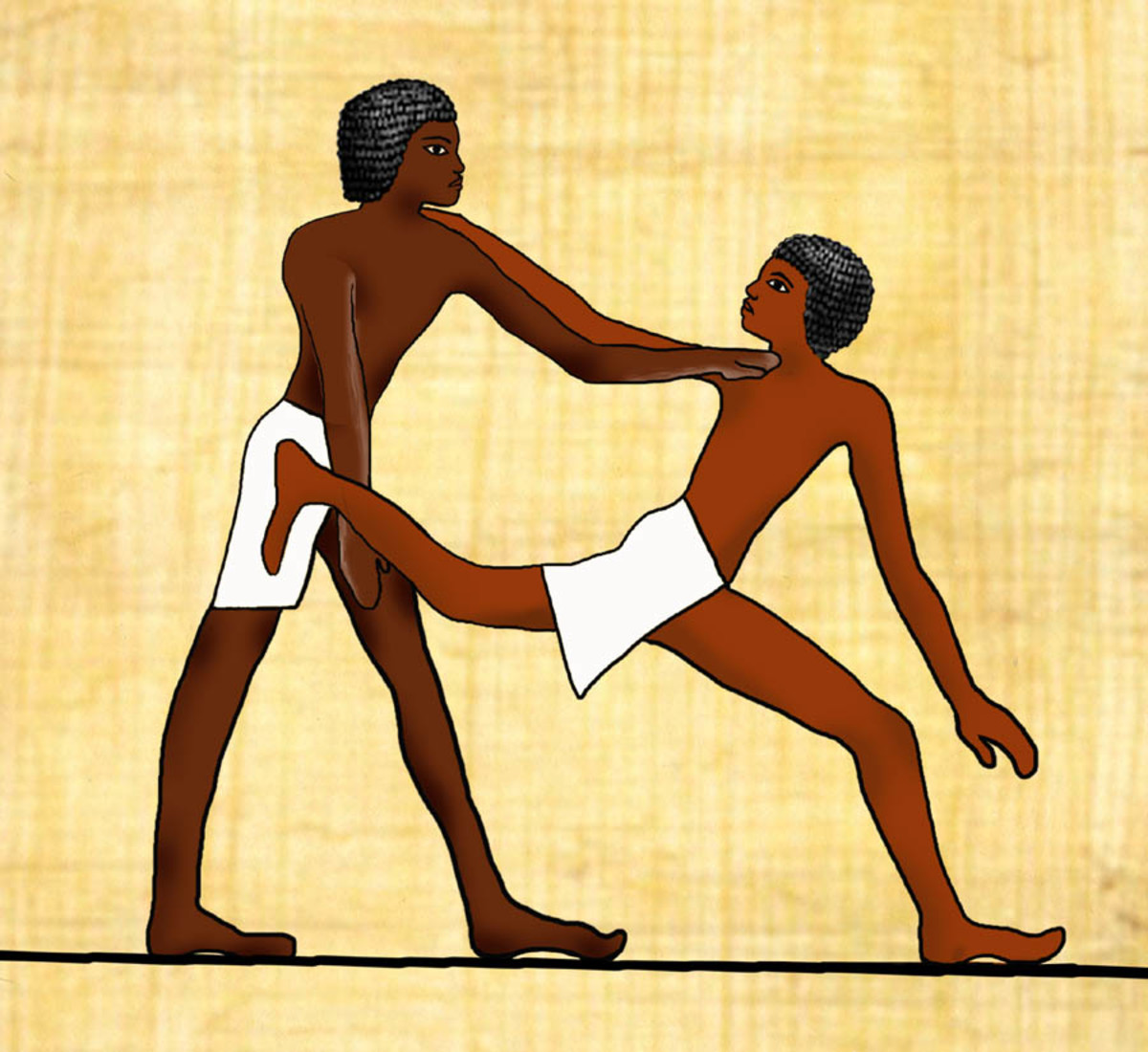 Ancient tomb art from the Beni Hasan site in Egypt date back 4,000 years ago, illustrate martial arts techniques.