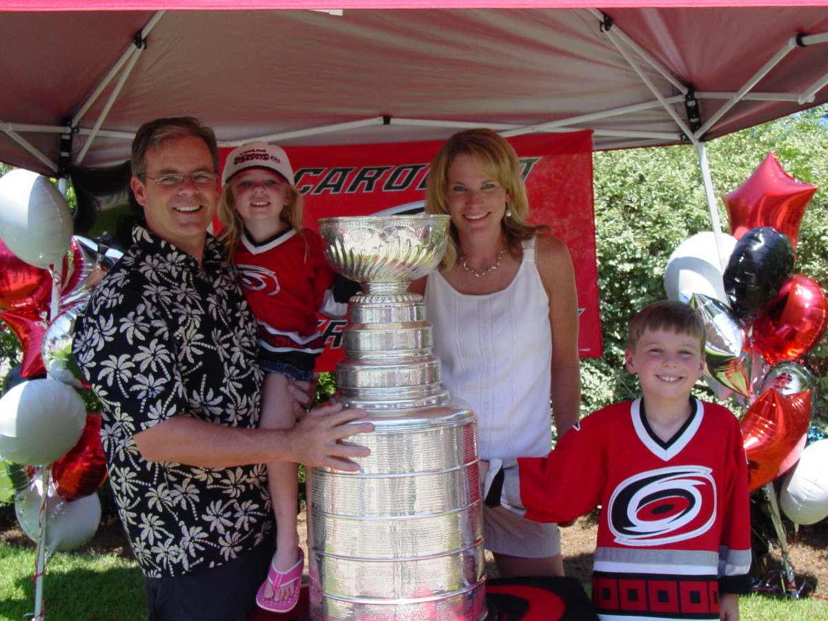 The Stanley Cup at a neighborhood party
