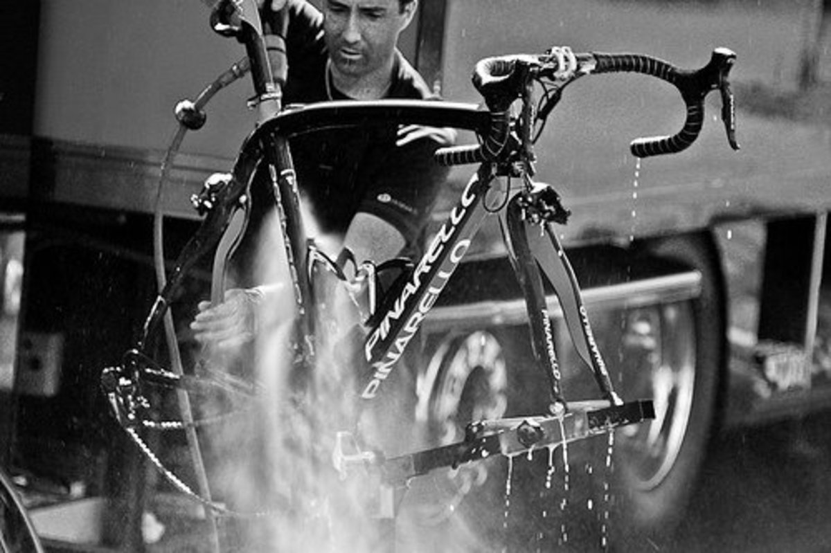 A Team Sky Pinarello Dogma getting a clean down after a long day at work in the Tour De France