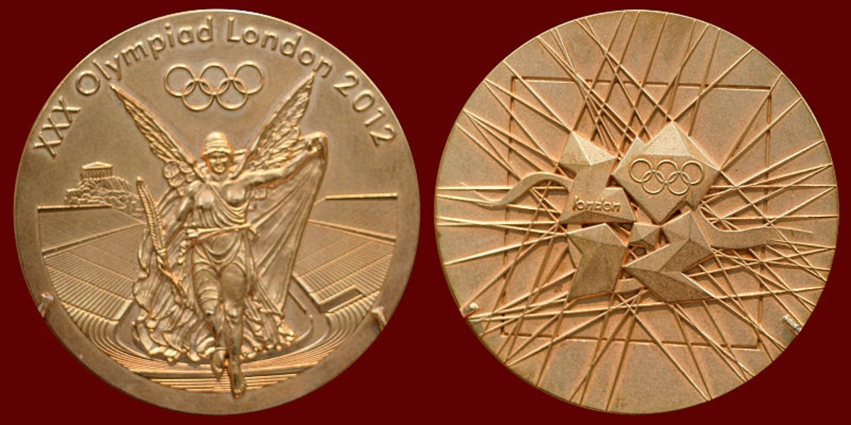 London 2012 Olympic gold medal. The largest and heaviest medals to be awarded at a Summer Olympic Games, the 'gold' medal only contains around 6g of gold.