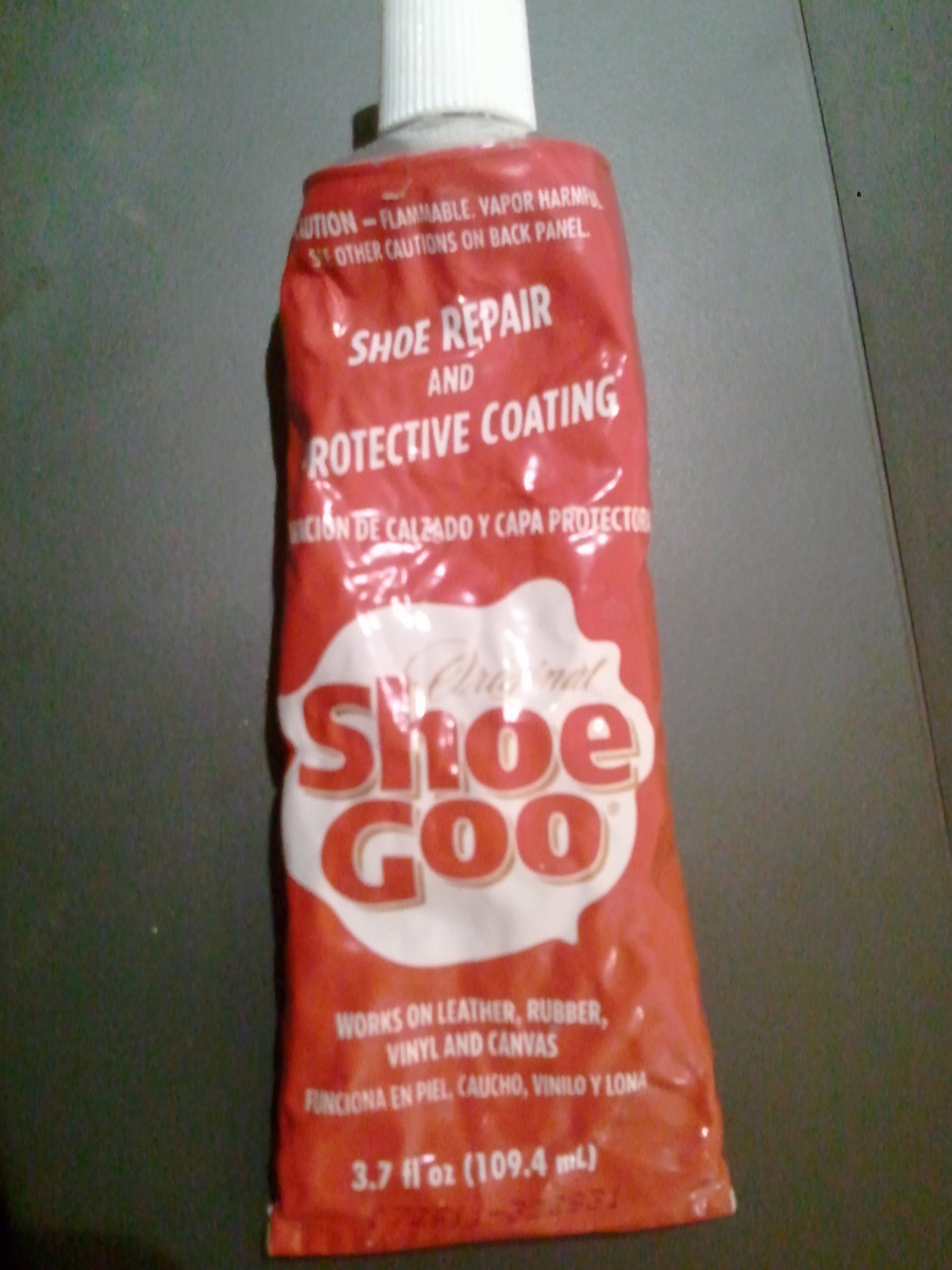 """Shoe Goo"" is a type of shoe glue that is great for repairing tears."