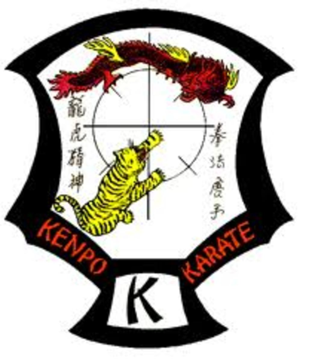 The Kenpo Crest. In the middle of the crest is a circle with lines running vertically and horizontally through, and shorter lines along 45-degree angles on the circle. These show angles of attack and defense, clearly also showing geometric principles