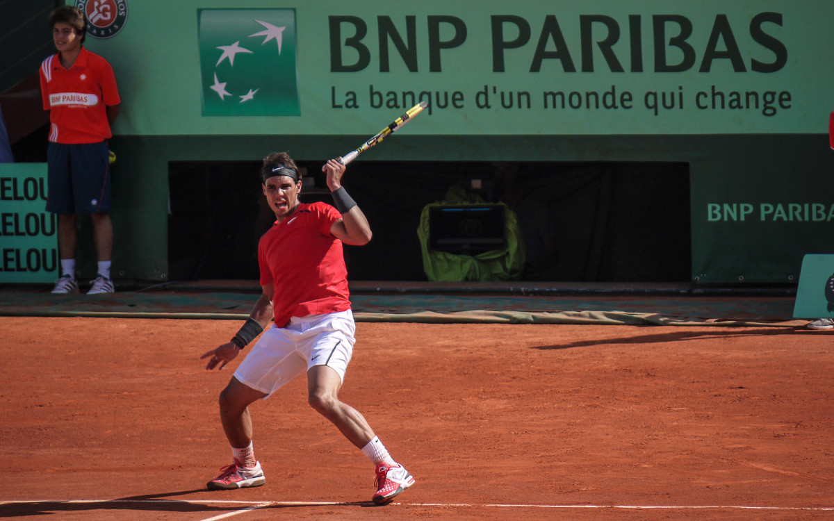 Nadal competing during the French Open.