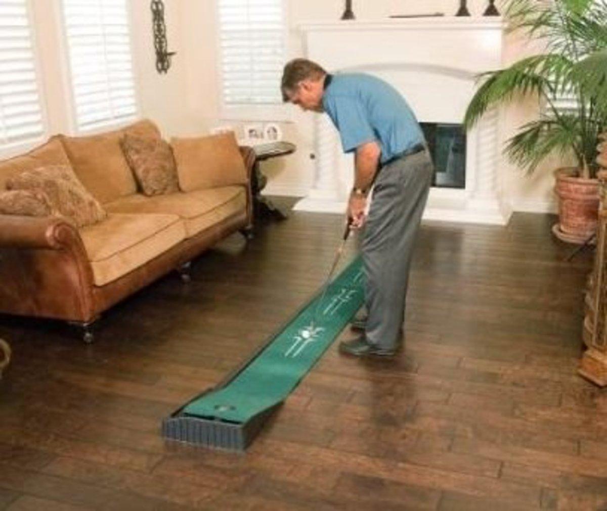 An indoor putting green.