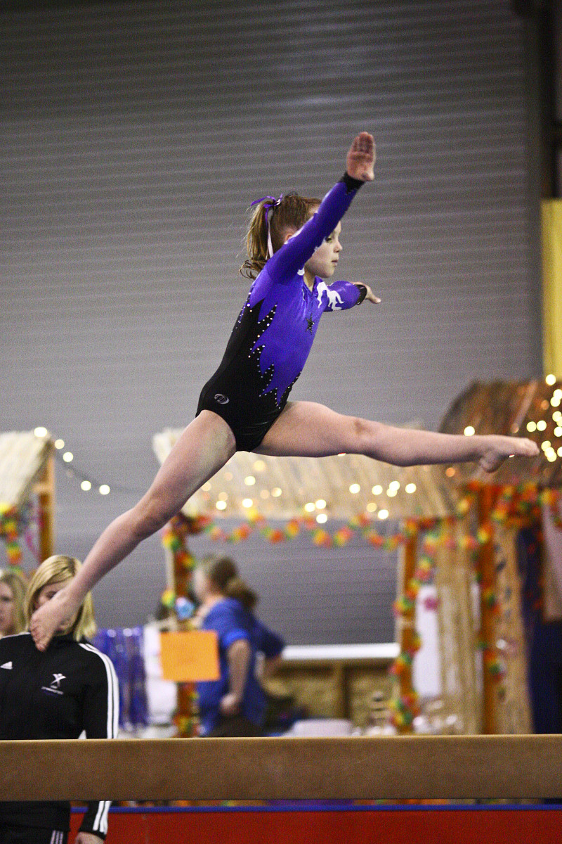 Back Walkover on Beam at a Level 6 Gymnastics Competition (3/4)
