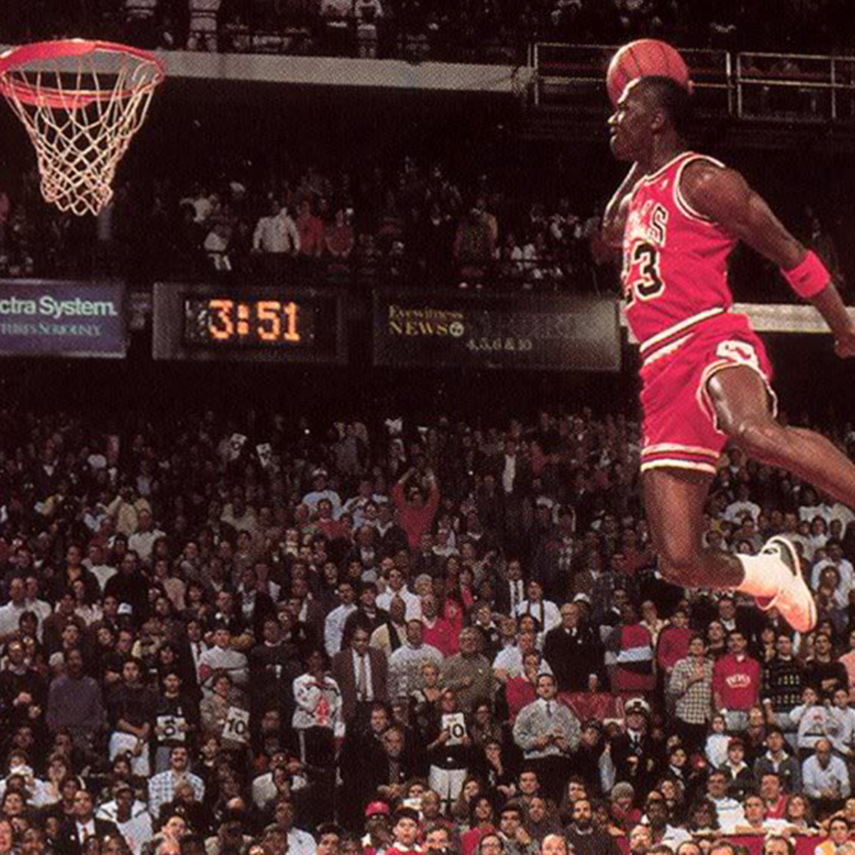 Michael Jordan's famous dunk where he seemed like flying.