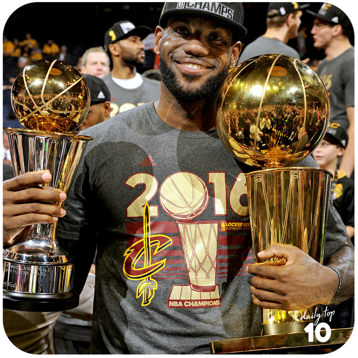 Lebron James winning the 2016 NBA Finals MVP and Championship.