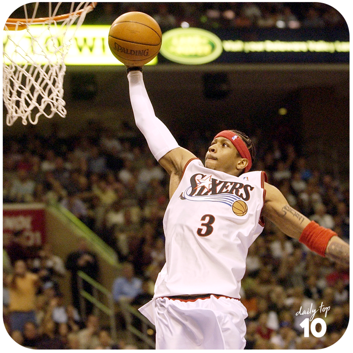 Allen Iverson dunking the basketball.