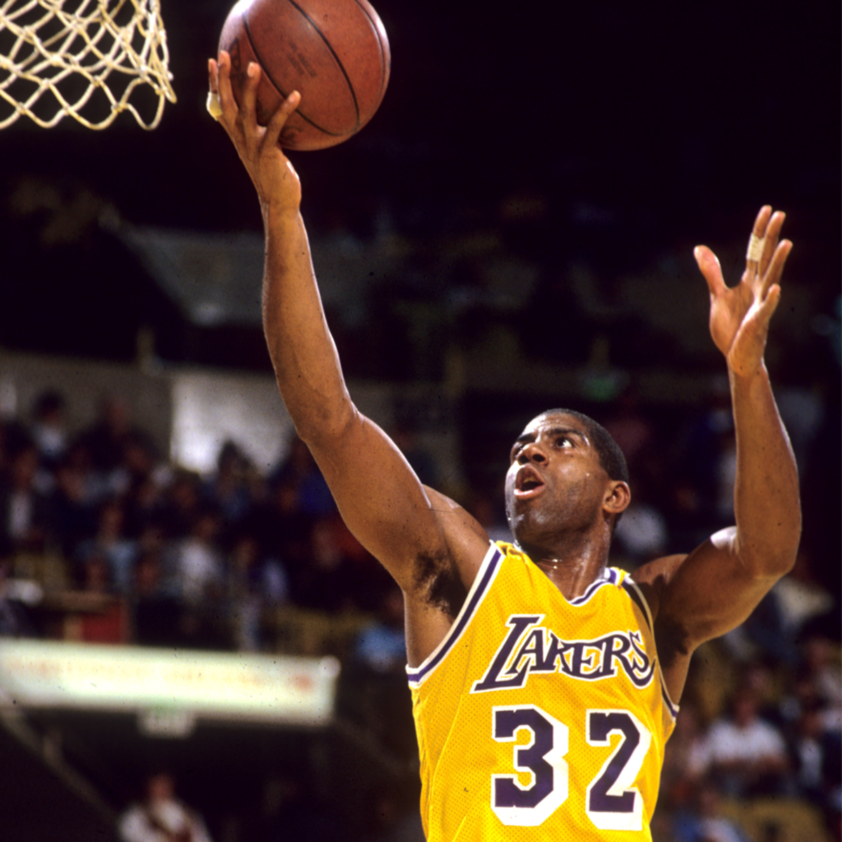 Magic Johnson jumped for a layup.