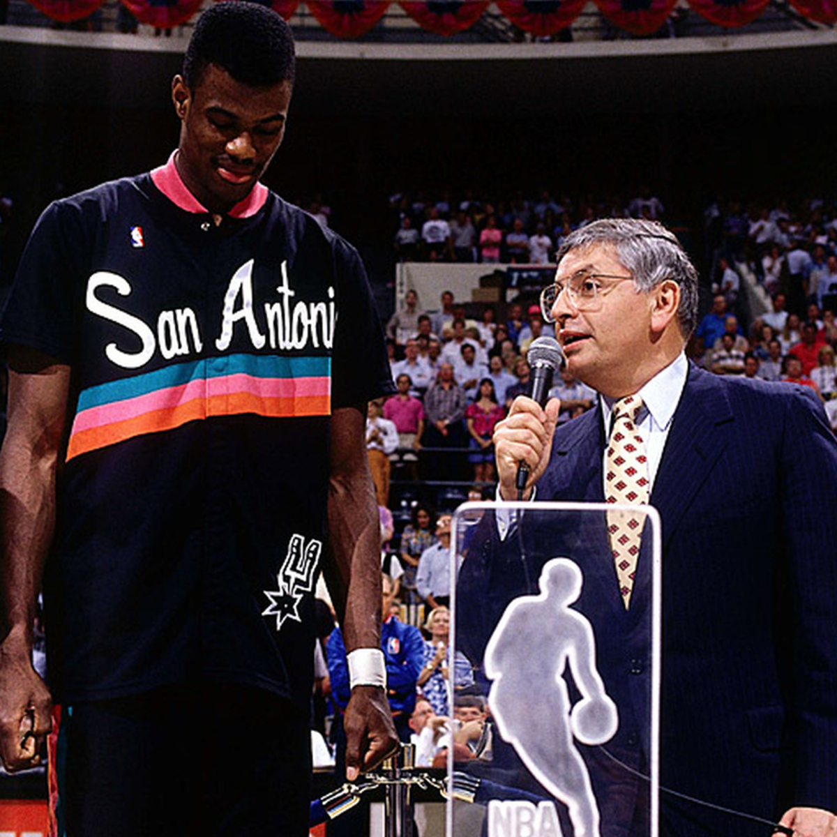 David Robinson receiving an award.
