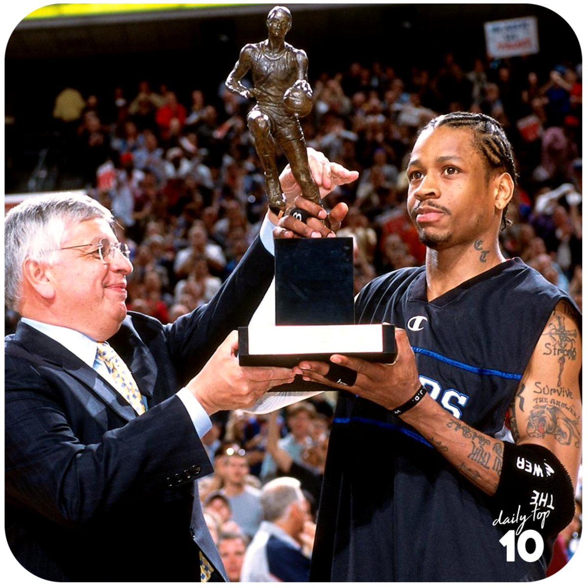 Allen Iverson receives the MVP Trophy.