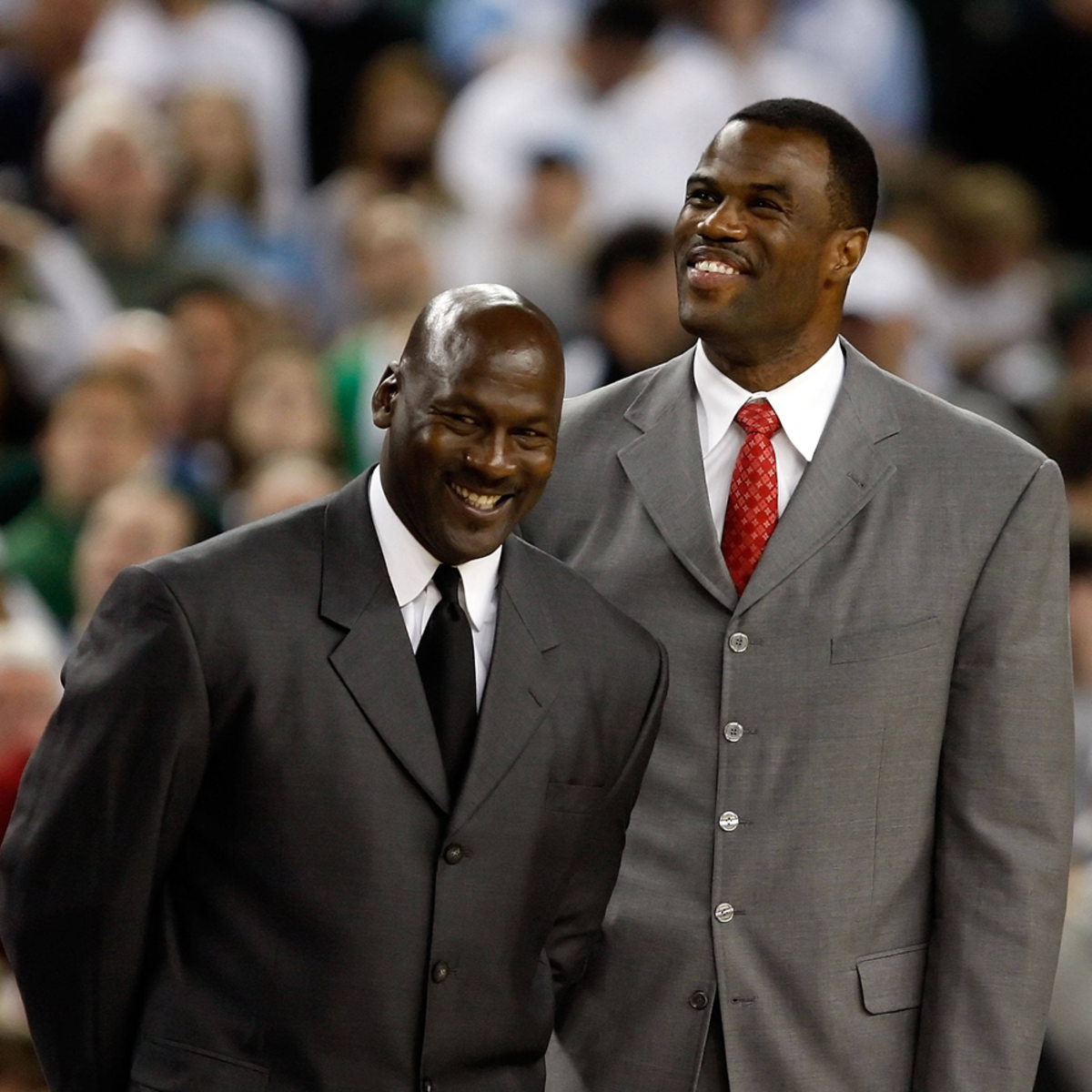 David Robinson and Michael Jordan having a great time back in the court.
