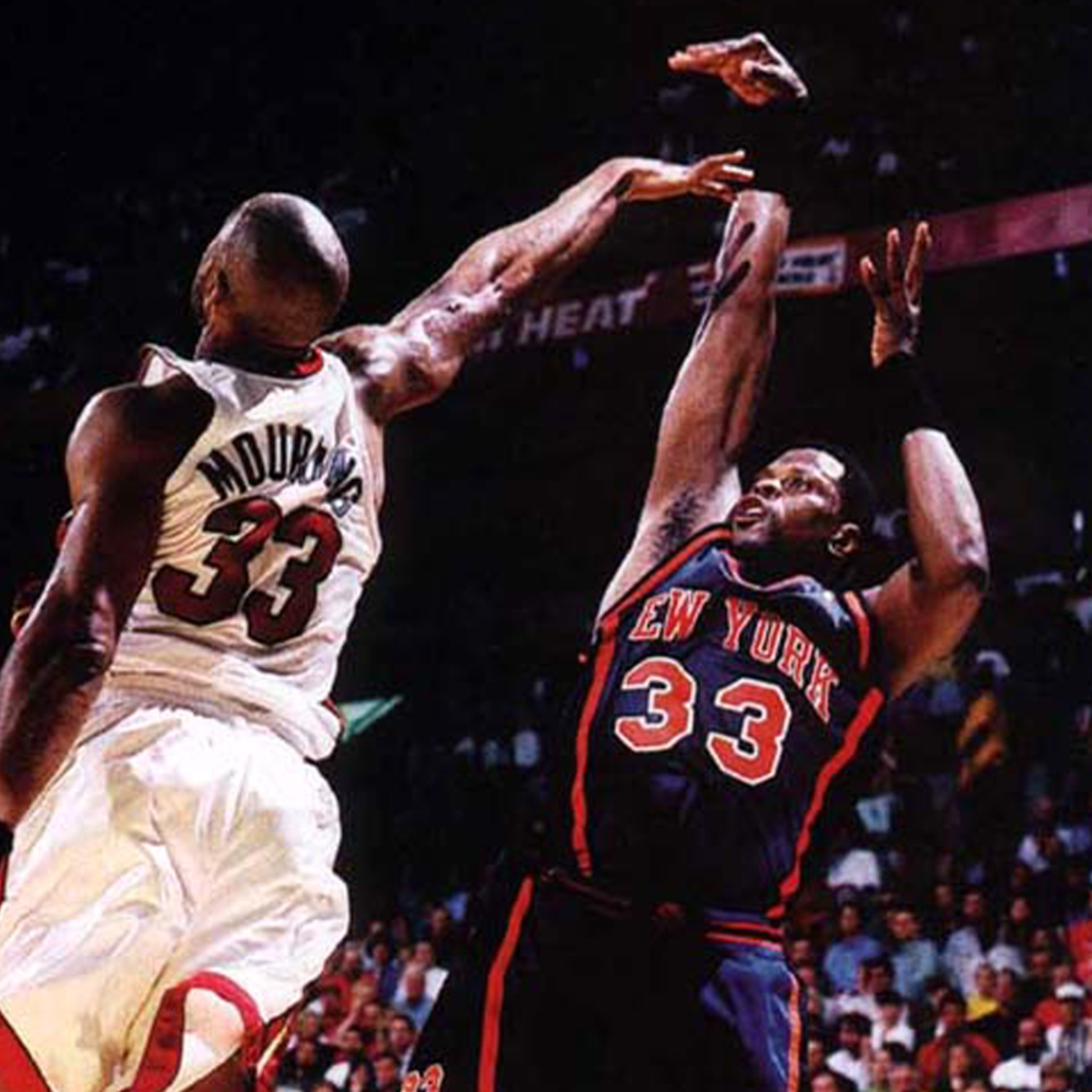 Patrick Ewing fade-away shot.