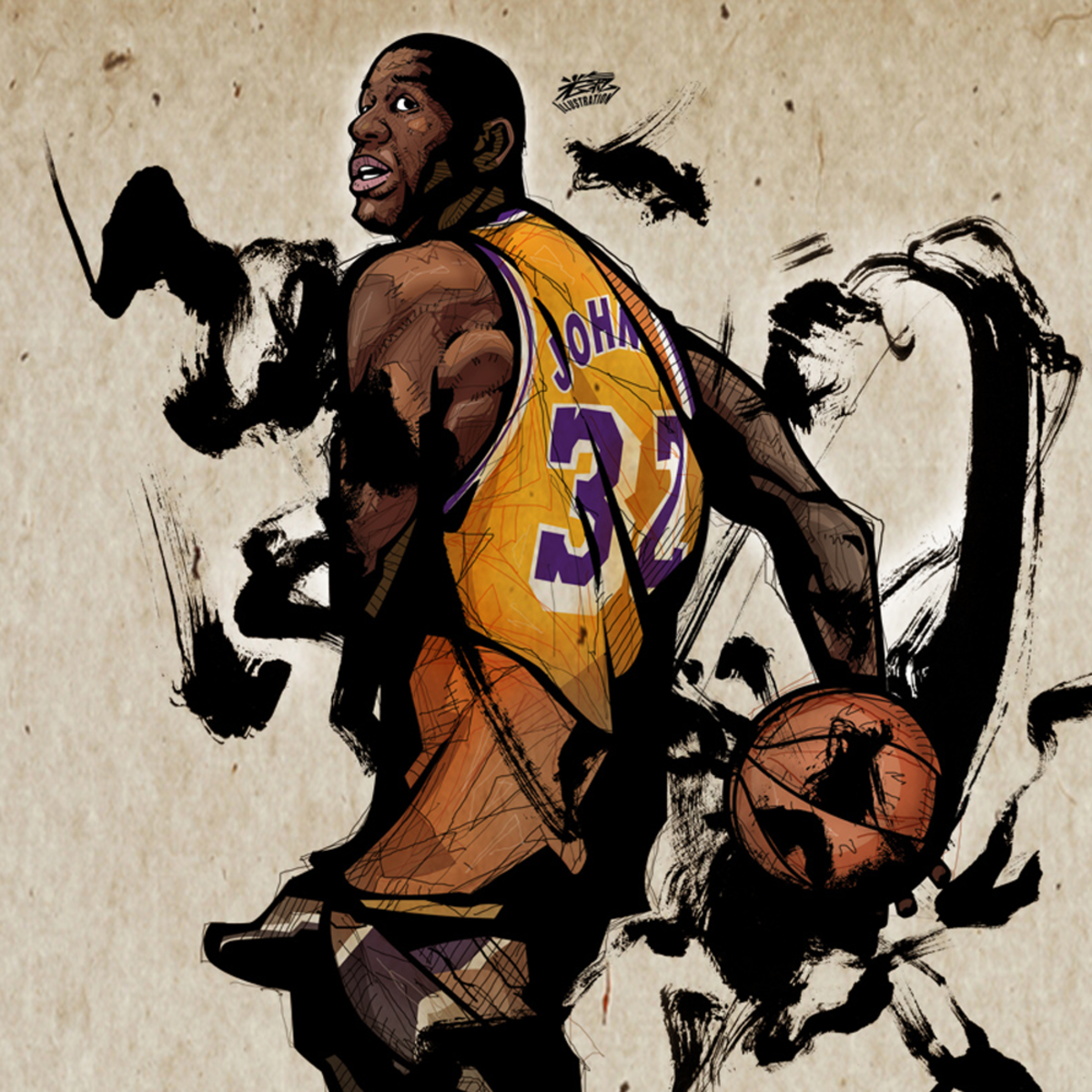 A fan-art illustrating Magic Johnson's infamous pass.