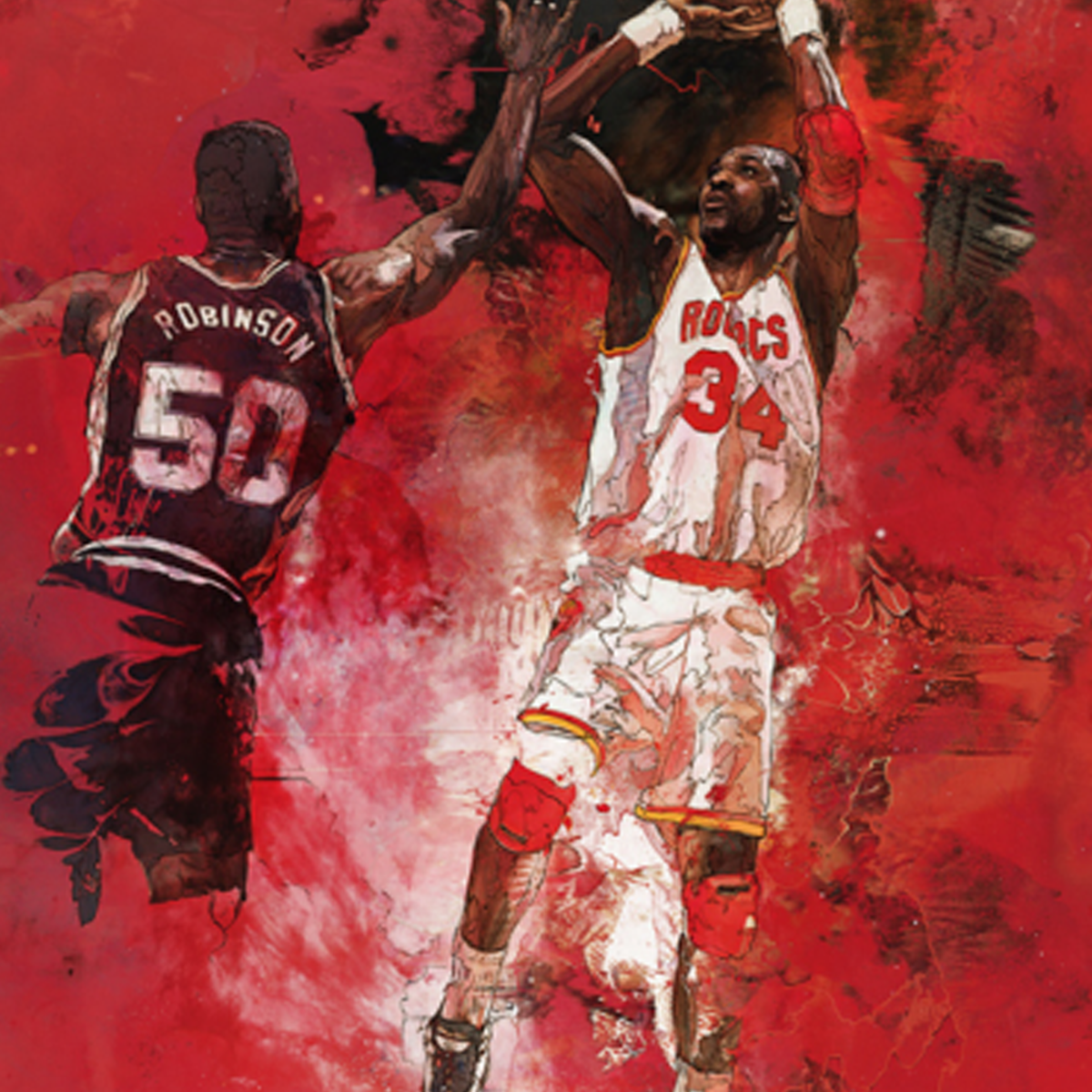 Hakeem Olajuwon's fade-away shot fan art.