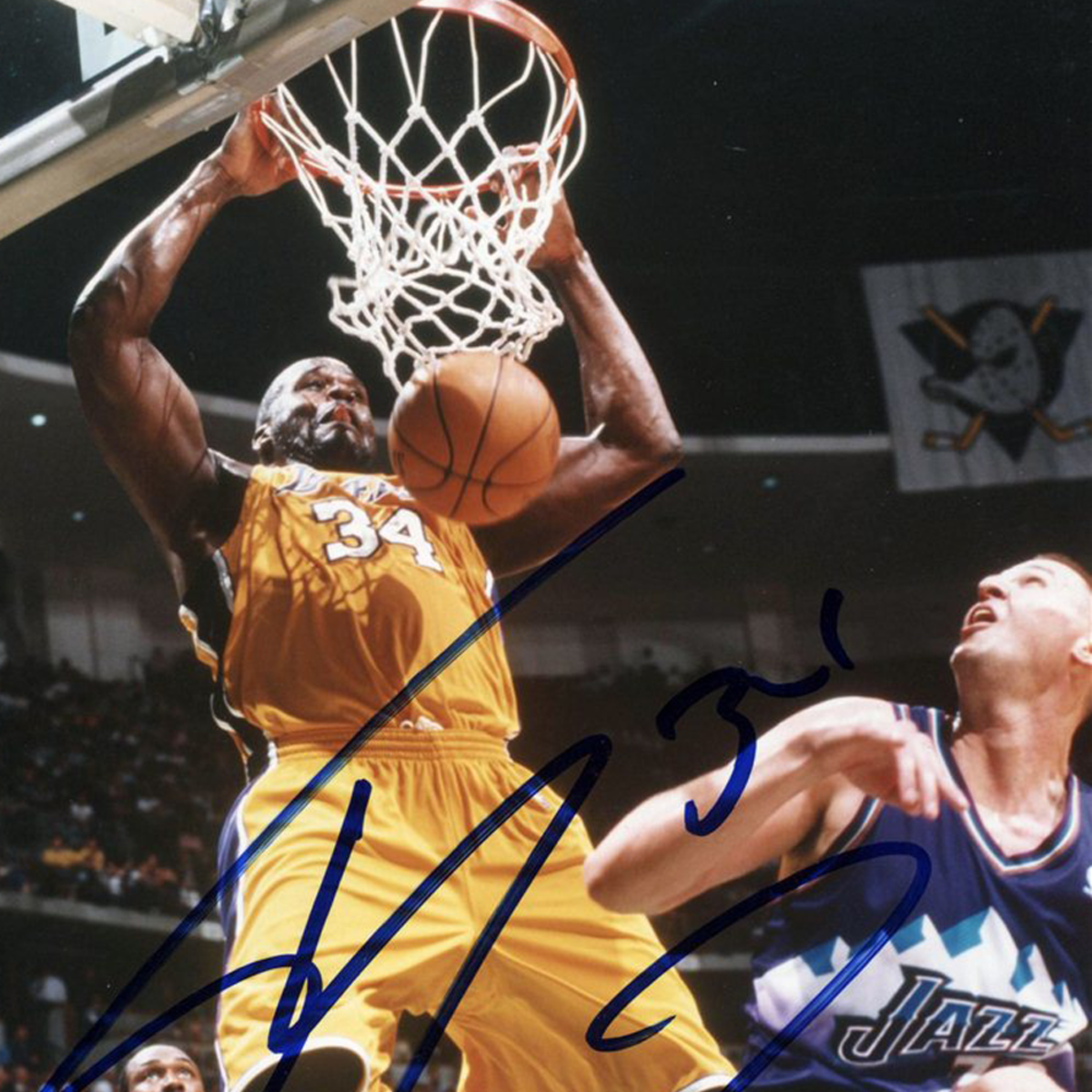 Shaquille O'neal's power dunk.