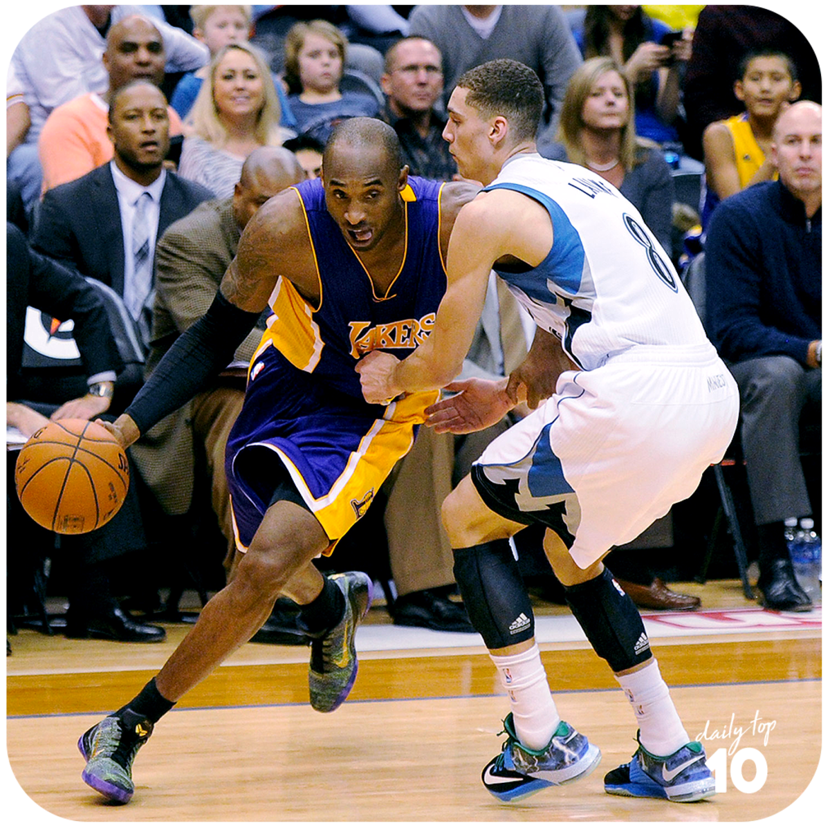 Kobe Bryant makes his move against Zack LaVine.