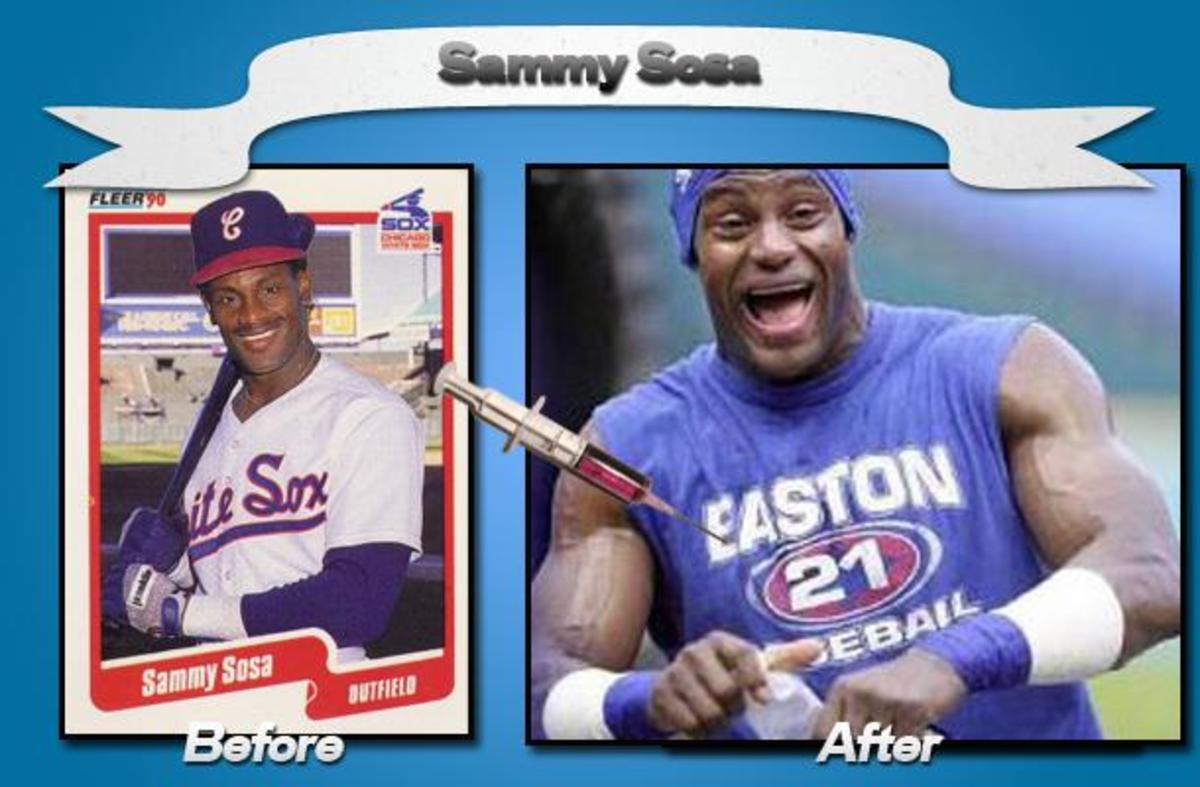 Just look at those arms!  Yet Sammy Sosa still felt the need to cheat even further with a corked baseball bat.