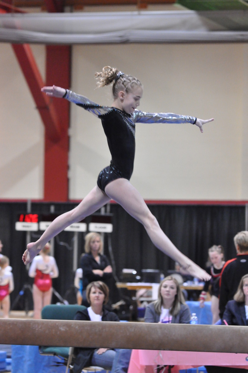Gymnasts must make sure to leap with straight legs.
