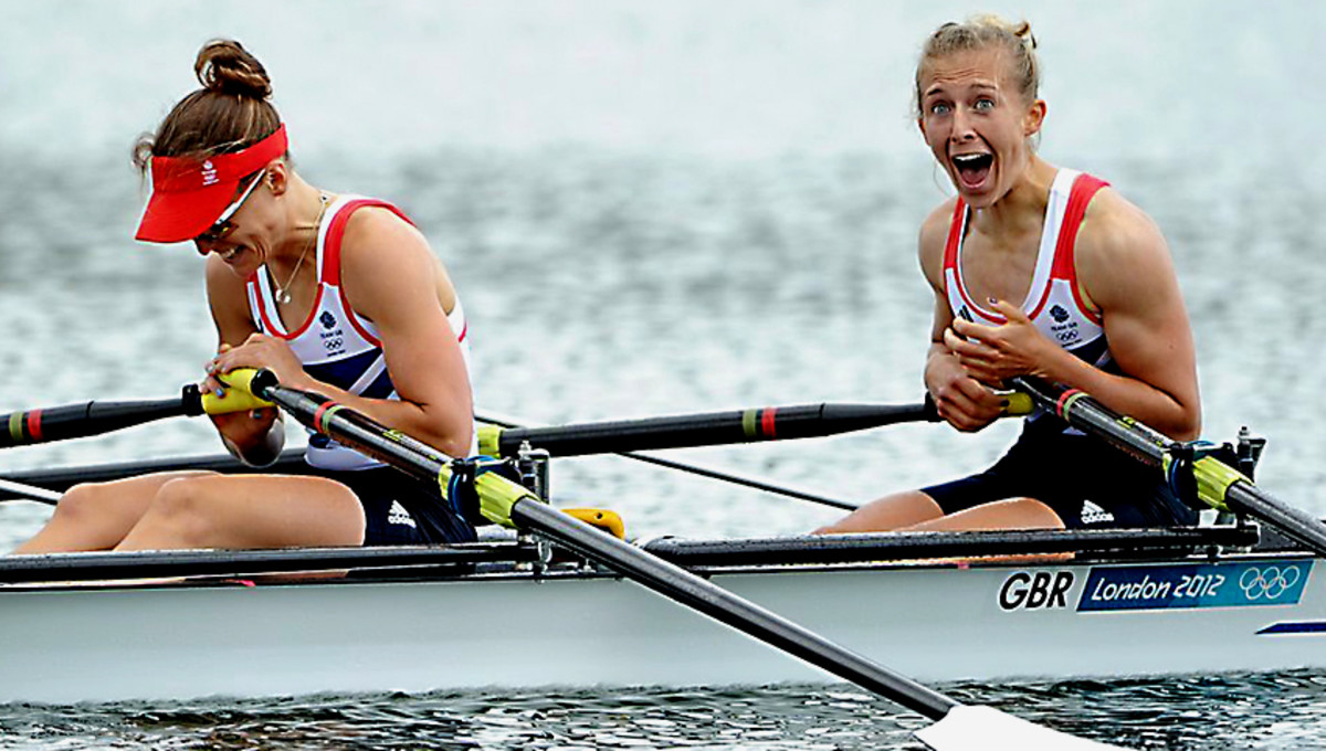 Sophie and Katherine as it dawns on them that they have won Gold