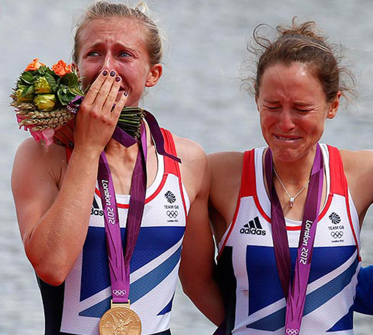 Britain's Katherine Copeland and Sophie Hosking in floods of tears after winning Gold in the lightweight double sculls