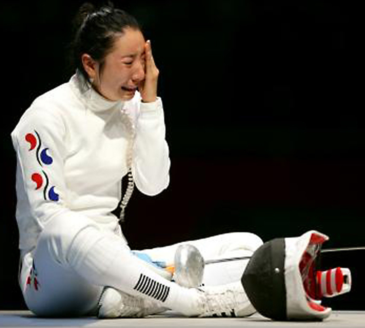 South Korea's Shin A-Lam in floods of tears after a purely technical infringement led to her disqualification in a fencing contest