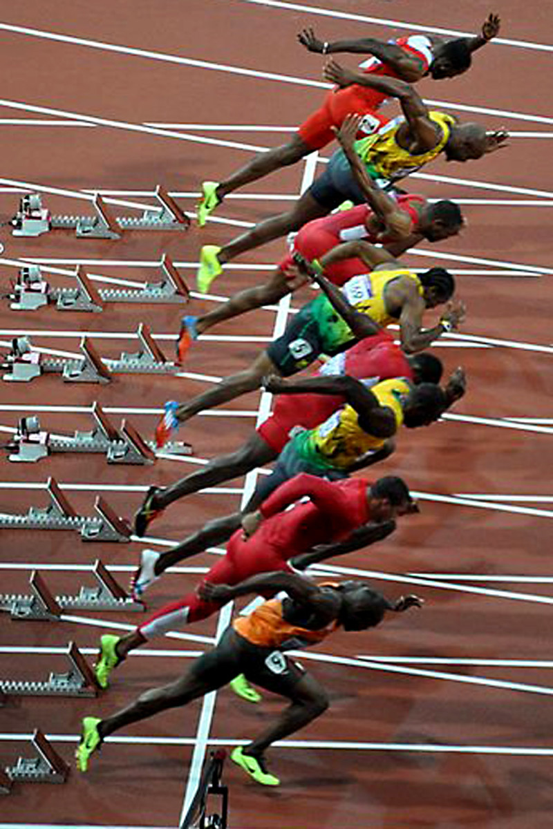 The start of the men's 100 metres final, arguably the most anticipated event of the 2012 Olympics, was won by Jamaican athlete Usain Bolt.