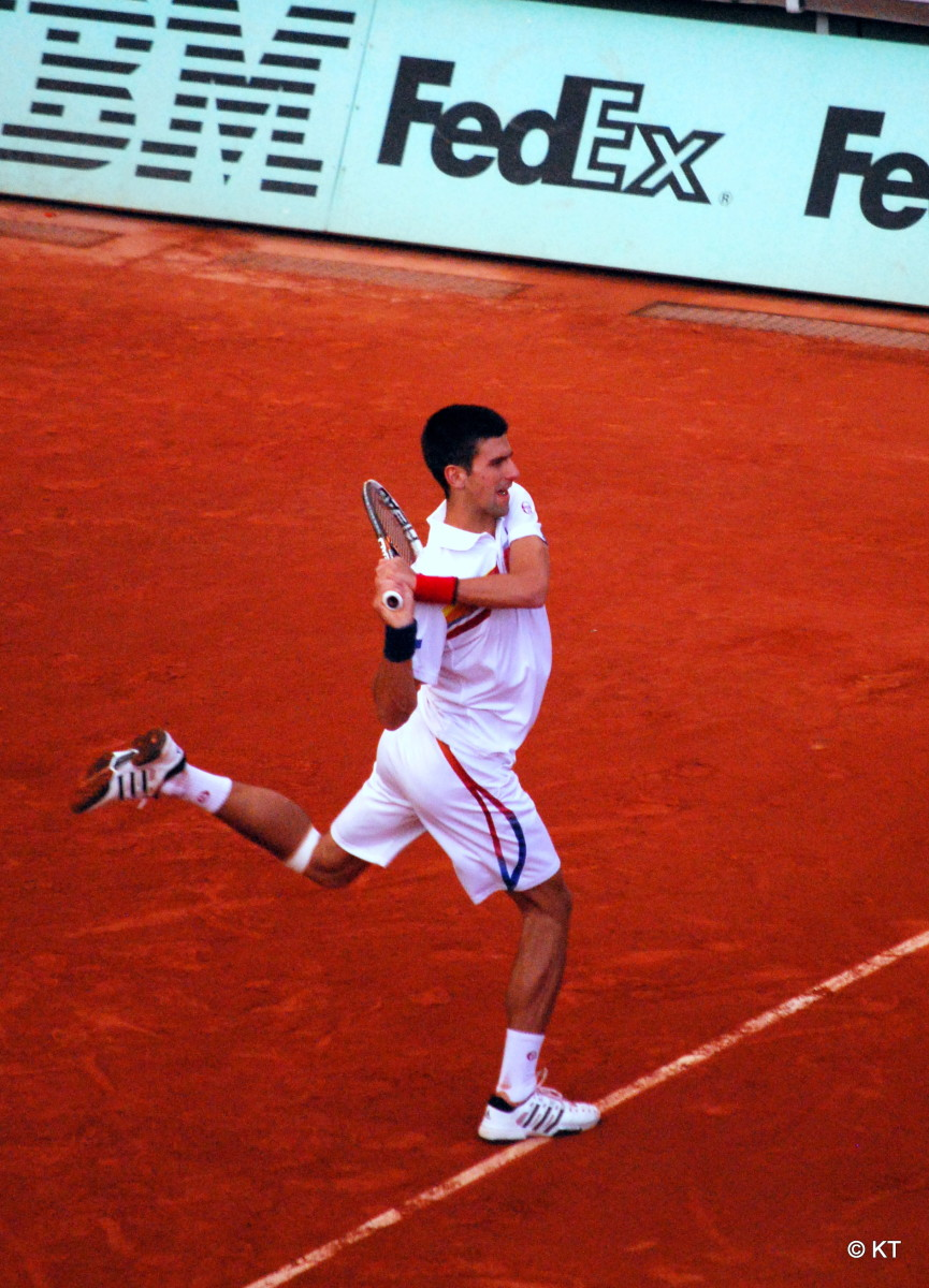 Noval Djokovic playing at the 2011 French Open.