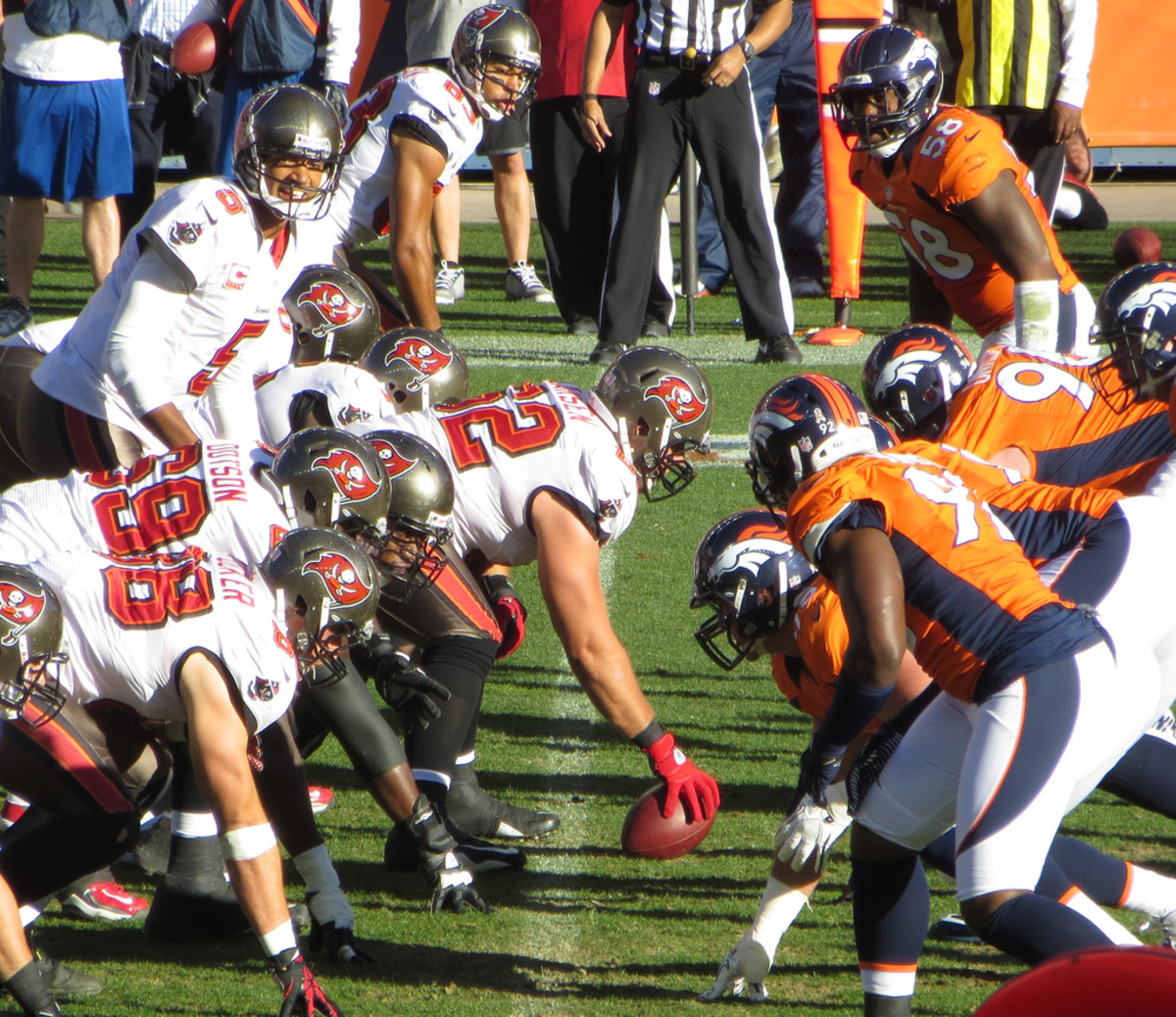 The line of scrimmage between two teams.