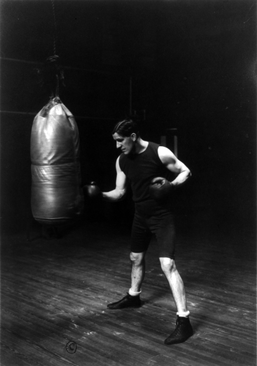 Old-School punching on an Old-School punching bag
