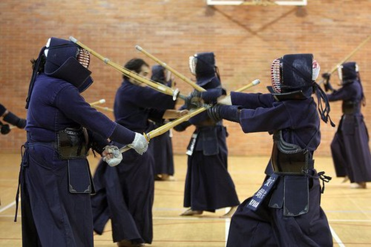 Kendo Practice With Training Swords