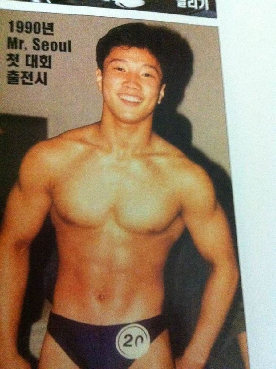 Kang Kyung Won at his first bodybuilding competition in 1990