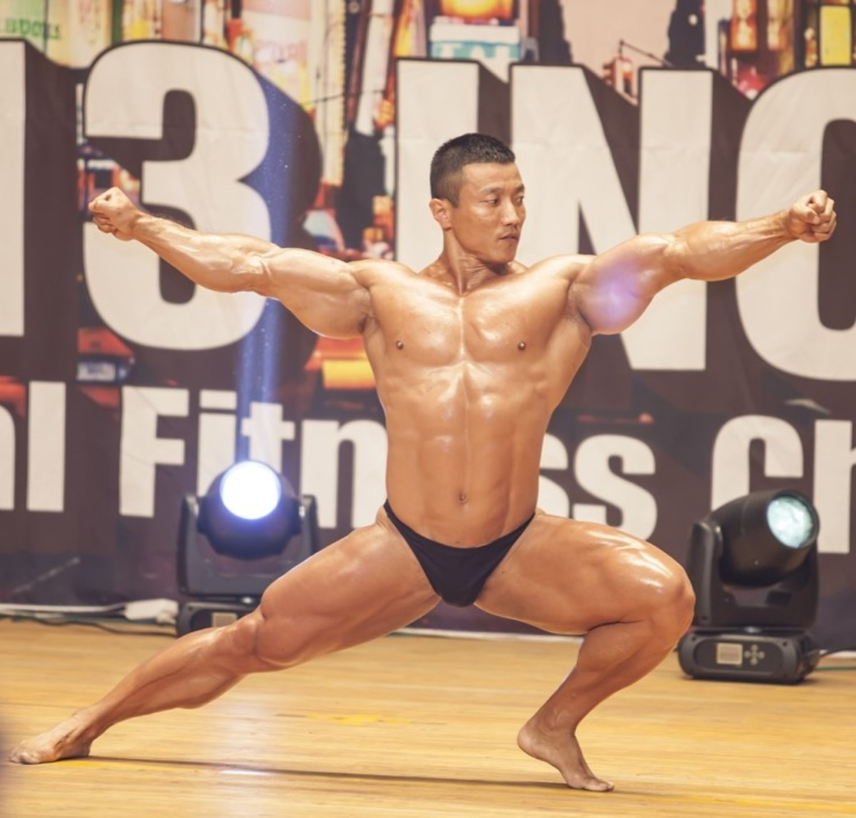Kang Kyung Won at a 2013 bodybuilding competition in Incheon, South Korea