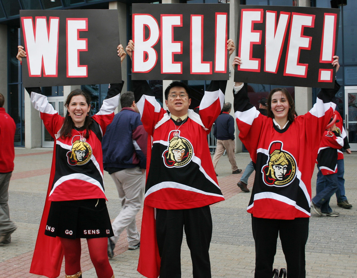 "Try some hockey lingo on the next fans you see. (""Go Sens"" or ""Go Senators"" for these guys.)"
